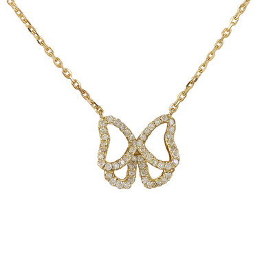 0.45 Carat Natural Diamond 14K Yellow Gold Butterfly Necklace