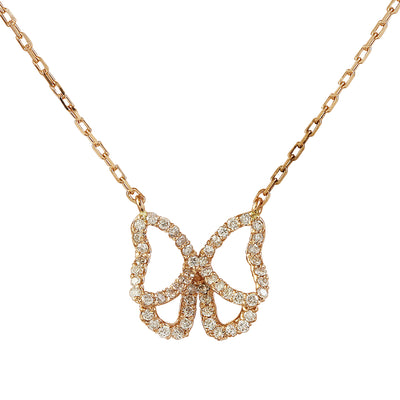0.45 Carat Natural Diamond 14K Rose Gold Butterfly Necklace