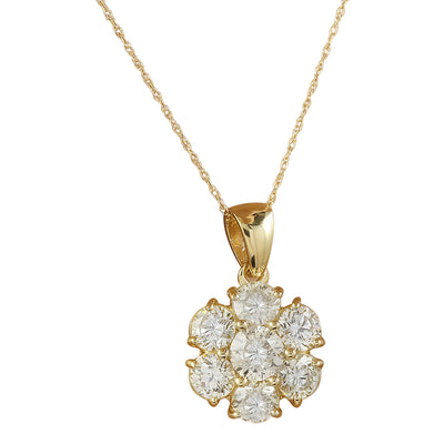 3.15 Carat Diamond 14K Yellow Gold Flower Necklace