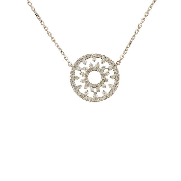 1.00 Carat Natural Diamond 14K Solid White Gold Necklace