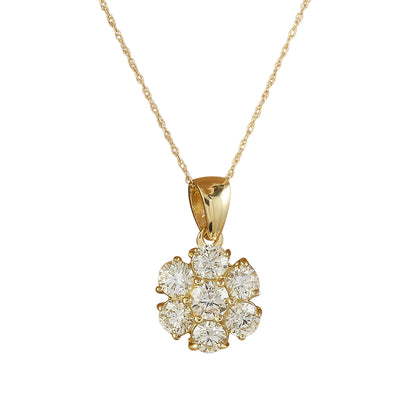1.00 Carat Diamond 14K Yellow Gold Flower Pendant Necklace