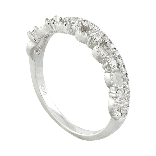 0.20 Carat Natural Diamond 14K Solid White Gold Ring