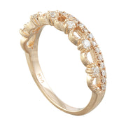 0.20 Carat Natural Diamond 14K Solid Rose Gold Ring