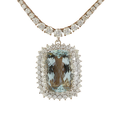 21.50 Carat Aquamarine 18K White Gold Diamond Necklace