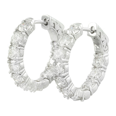 4.00 Carat Diamond 14K White Gold Hoop Earrings
