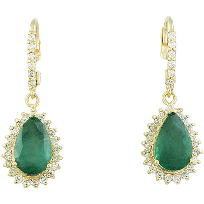 5.85 Carat Emerald 14K Yellow Gold Diamond Earrings