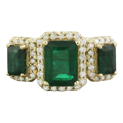 4.21 Carat Emerald 14K Yellow Gold Diamond Ring - Fashion Strada