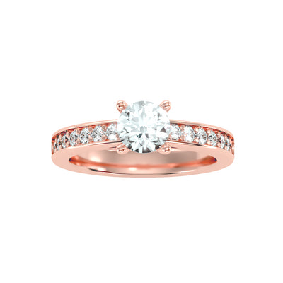 0.95 Carat Diamond 14K Rose Gold Engagement Ring - Fashion Strada