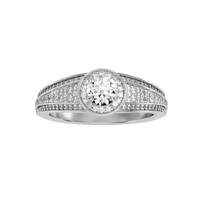 0.97 Carat Diamond 14K White Gold Engagement Ring - Fashion Strada