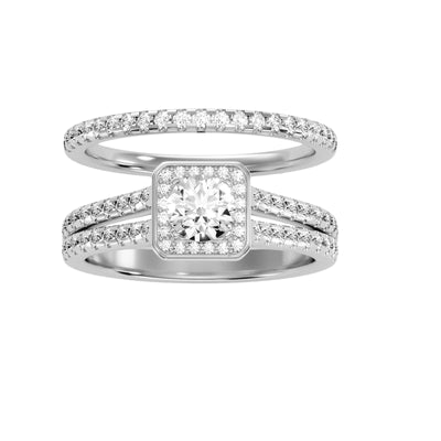 1.21 Carat Diamond 14K White Gold Engagement Ring and Wedding Band - Fashion Strada