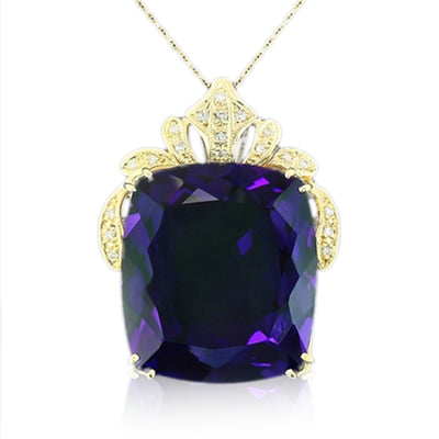 14K Amethyst and Diamond Necklace - Fashion Strada