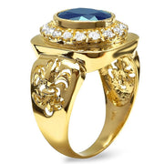 14K Mens Diamond And Sapphire Ring - Fashion Strada