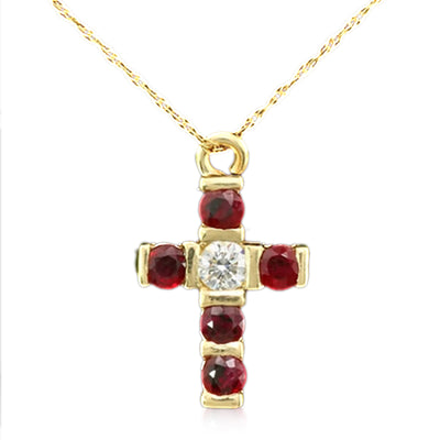 14K Diamond and Ruby Cross Necklace - Fashion Strada