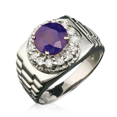 14K Mens Sapphire And Diamond Ring - Fashion Strada