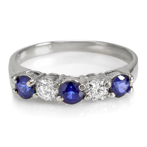 14K Womens Sapphire And Diamond Wedding Band