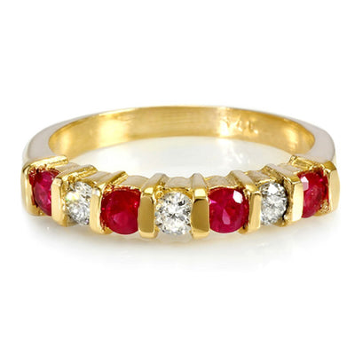 14K Womens Ruby And Diamond Wedding Band - Fashion Strada
