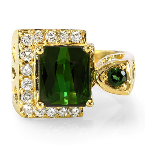14K Green Tourmaline And Diamond Ring - Fashion Strada