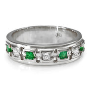 14K Mens Emerald And Diamond Ring - Fashion Strada