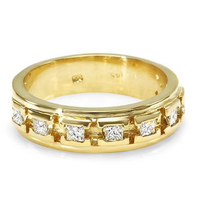 14K Mens Diamond Designers Wedding Band