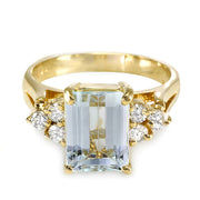 14K Aquamarine And Diamond Ring - Fashion Strada