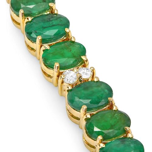 14K Emerald and Diamond Bracelet - Fashion Strada