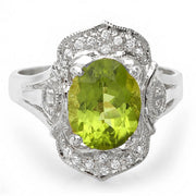 14K Peridot and Diamond Ring - Fashion Strada