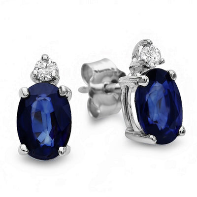 14K Sapphire and Diamond Earrings - Fashion Strada