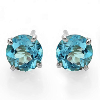 14K Topaz Stud Earrings - Fashion Strada