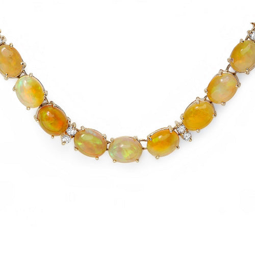 14K Opal and Diamond Necklace - Fashion Strada