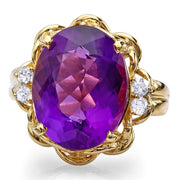 14K Amethyst And Diamond Ring - Fashion Strada