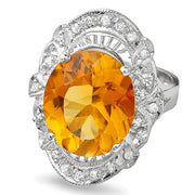 14K Citrine And Diamond Ring - Fashion Strada