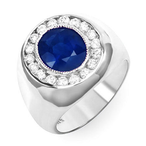 14K Diamond And Sapphire Mens Ring - Fashion Strada