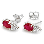 14K African Ruby And Diamond Earrings - Fashion Strada