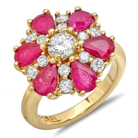 14K Ruby And Diamond Ring - Fashion Strada