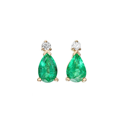 14K Emerald And Diamond Earrings - Fashion Strada