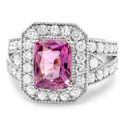 14K Pink Sapphire And Diamond Ring - Fashion Strada