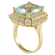 9.51 Carat Natural Aquamarine 14K Yellow Gold Diamond Ring - Fashion Strada