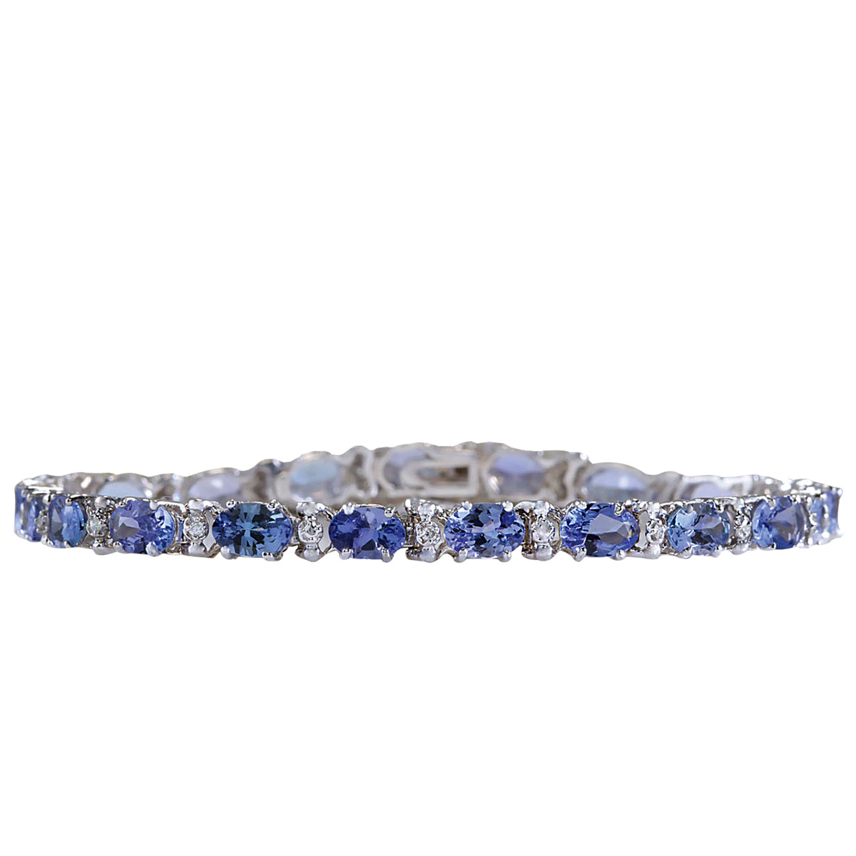 9.74 Carat Natural Tanzanite 14K White Gold Diamond Bracelet