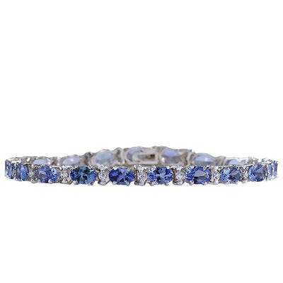 8.83 Carat Natural Tanzanite 14K White Gold Diamond Bracelet - Fashion Strada
