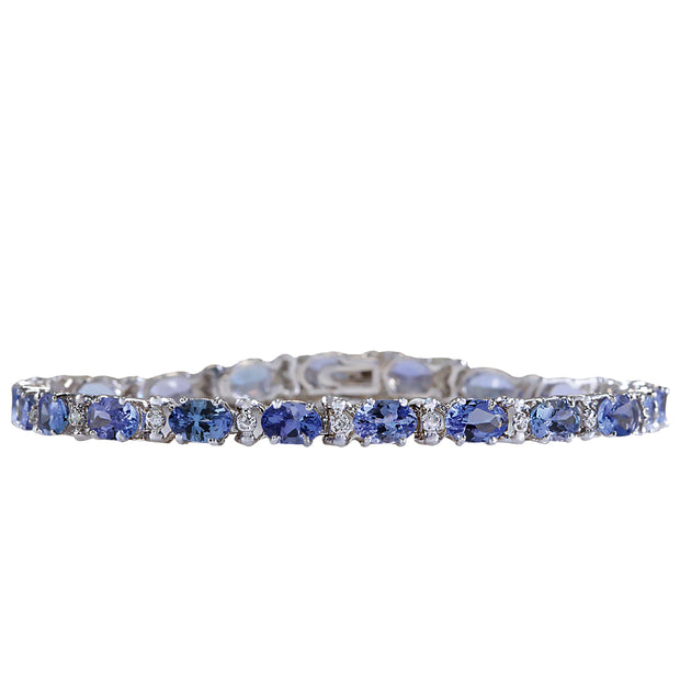 8.83 Carat Natural Tanzanite 14K White Gold Diamond Bracelet