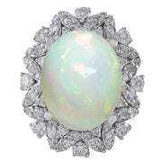 8.15 Carat Natural Opal 14K White Gold Diamond Ring - Fashion Strada