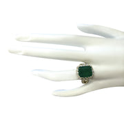7.49 Carat Natural Emerald 14K Yellow Gold Diamond Ring - Fashion Strada