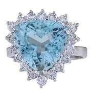 7.12 Carat Natural Aquamarine 14K White Gold Diamond Ring - Fashion Strada
