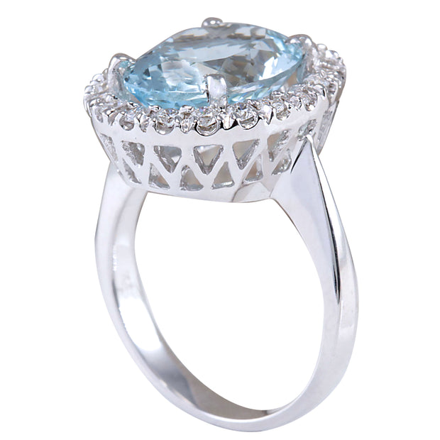 6.60 Carat Natural Aquamarine 14K White Gold Diamond Ring - Fashion Strada