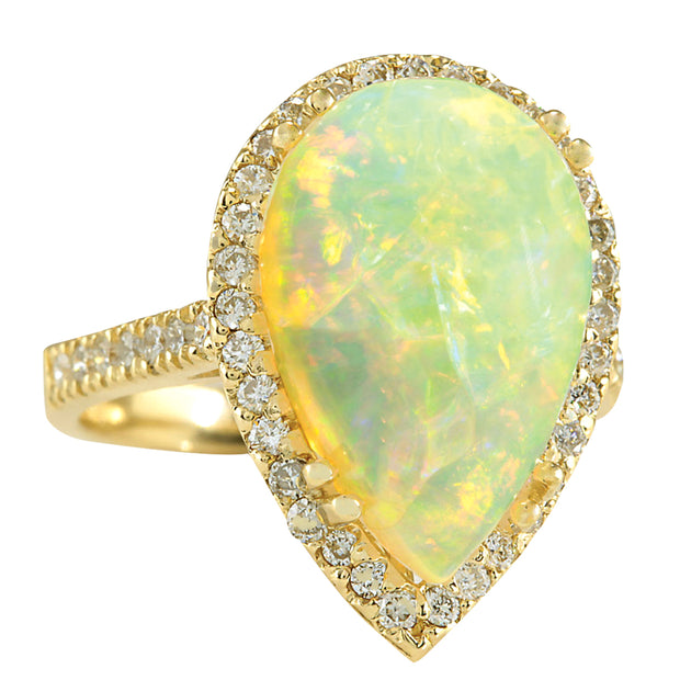 6.25 Carat Natural Opal 14K Yellow Gold Diamond Ring - Fashion Strada