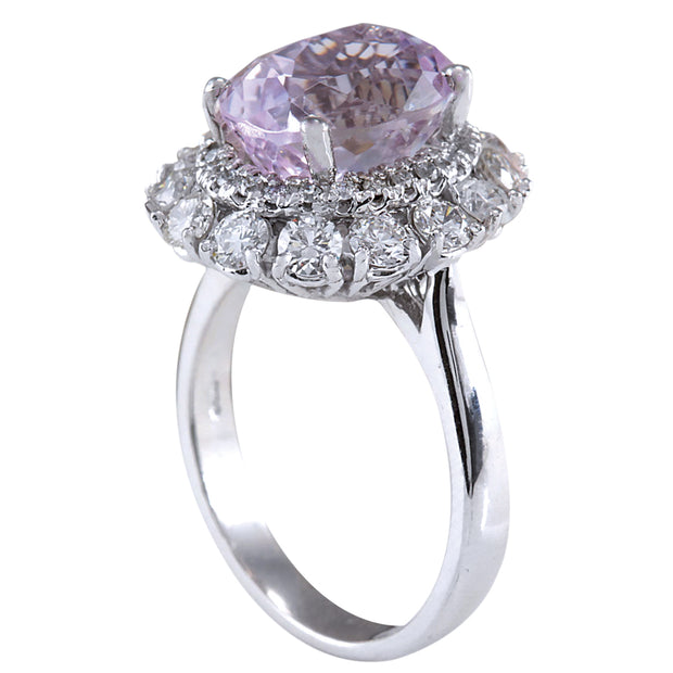 6.20 Carat Natural Kunzite 14K White Gold Diamond Ring - Fashion Strada