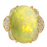 5.84 Carat Natural Opal 14K Yellow Gold Diamond Ring - Fashion Strada