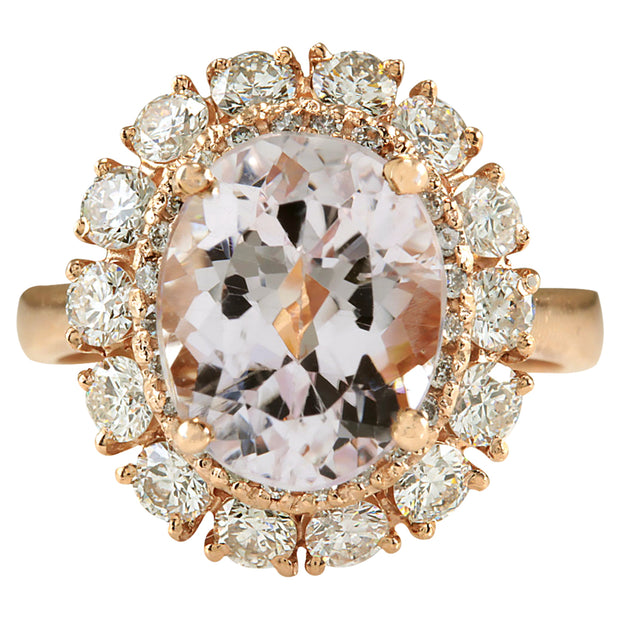 5.66 Carat Natural Morganite 14K Rose Gold Diamond Ring - Fashion Strada