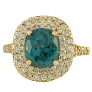 5.21 Carat Natural Zircon 14K Yellow Gold Diamond Ring - Fashion Strada