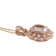 4.79 Carat Natural Morganite 14K Rose Gold Diamond Necklace - Fashion Strada